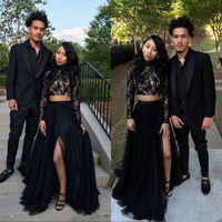 Siyah Dantel Uzun Kollu İki Adet Gelinlik Yüksek Boyun Ucuz Örgün Parti Abiye ile Yüksek Yarık Afrika Akşam Giyim Elbise
