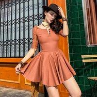 Le Palais Jahrgang 2020 Origional Schlanke Collect Taille Ballkleid über Knie-Minikleid für Frauen elastischen Halbarm Sexy Kleider