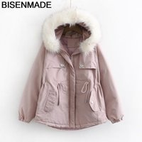 BISENMADE Oversize Women's Winter Parkas New 2021 Loose Safari Style Down Cotton Coat Drawstring Fur Collar Padded Jacket