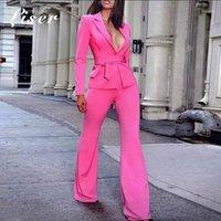 Liser 2020 Nuove donne estate Giacche con scollo a V Collo Due pezzi Giacca Sexy Bodycon Elegante festa celebrità Party Giacca fucsia Vestidos1