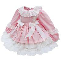Ragazze spagnole Boutique Dress Bambino By Birth Birthday Dresses Kids Pizzo Bow Gown Toddler Girl Princess Lolita Robe Abbigliamento infantile F1217