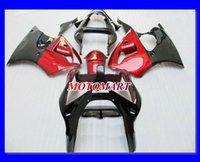 뜨거운 빨간색 광택 검은 공정 키트 Kawasaki Ninja ZZR600 05 06 07 08 ZZR-600 2005 2008 ZZR 600 페어링 세트