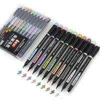 10 adet Metalik Renk Fırça Marker Kalem Seti 1-7mm Yumuşak İpucu Çizim Boyama Yazı Kaligrafi Albümü Tasarım Sanat Malzemeleri F929 201211