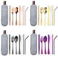 8pcs définit la fourche de couteau Scoop Straight Curved Straw baguettes de paille brosse en acier inoxydable sac portable Vaisselle Vaisselle Ustensile de voyage 18 8WL K2