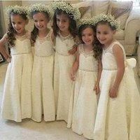 Sweet Flower Girl Vestidos Casamento Princesa Country Girl Vestidos Full Lace A Linha Jewel Collar Império Longo Crianças Comunhão Vestidos