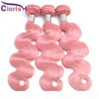 Snelle levering Pure Roze Body Wave Menselijk Haar Peruviaanse Virgin Extensions Pre Gekleurd Golvend Roze Haar Weave 3 Bundels Deals betrouwbare leveranciers