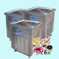 Envío gratuito Equipo de procesamiento de alimentos ETL CE Square 50cm Pan SANCK Fried Ice Cream Machine Frozen Yogurt Maker