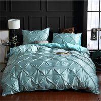 Solid Färglinne Silk Tvättade Sängkläder Lyxdäck Dubbelsäng Double Coverlet 3 st Codaters