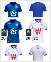 20-21 RC Estrasburgo Alsácia Alsácia Jerseys Djiku Thomasson Lala Mothiba Sissoko Camisas de futebol Hommes + Enfants Maillot Uniform Men + Kids Kit