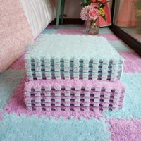 Ins Style Flannel Carpet 10pcs / Lot Fashion Mosaic Floor Mat Bedroom Living Room Decoration Materials Cute Baby Rug Home E11286 201214
