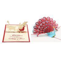 Tarjetas de felicitación 2pcs 3D Up Cumpleaños Tarjeta de cumpleaños para esposa Marido Niños Día de San Valentín Regalo de la madre Red - Peacock Chr