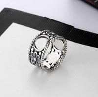 Mode Charm Schmuck Silber Ring Hohl Buchstaben Ring Retro Einfache Hip Hop Punk Ring Party Zubehör Geschenk