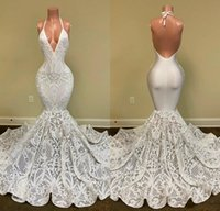 2020 sirena vestidos de fiesta halter encaje lentejuelas apliquen aplique sin respaldo vestido de noche hecho por encargo ocasiones especiales vestidos más tamaño