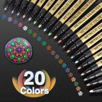 Металлические маркеры маркеров ручки набор 20 цветов краски ручка ремесло для рок-рок, фотоальбомы, скрапбукинг 201125
