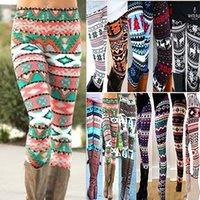 Женщины Рождественские олени снежинки Леггинсы мода Флористическое молоко Тонкие карандашные брюки Леггинсы упругие колготки длинные брюки 16 стиль
