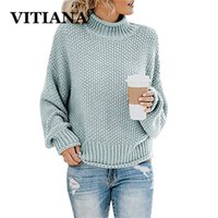 Vitiana Hecha de punto suéteres en otoño e invierno de mujeres suéter de punto casual hembra de manga larga jersey tops sueltos LJ200815