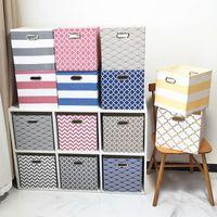 Cubo de armazenamento dobrável Caixa de armazenamento de roupas para brinquedos organizadores cestas para guarda-berçário recipiente de prateleira de armário 2 tamanho