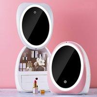 LED 라이트 데스크탑 주최자 HD 미러 메이크업 주최자 서랍 유형 크리 에이 티브 화장품 저장 상자 Protable Beauty Box Z1123