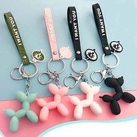 الكورية أزياء المفاتيح ستيريو لطيف بالون الكلب سلاسل الحلي للنساء الفتيات الرجال كيرينغ الكرتون الحيوان سيارة مفتاح حقيبة قلادة