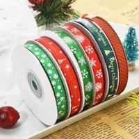 52 yardas / lote 1 cm cinta de poliéster bronceado cinta impresa de la cinta de Navidad para la decoración de la Navidad Tela de costura DIY DHL