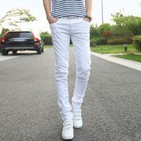 جينز رجالي رجالي أزياء الأعمال عارضة 2021 الذكور الأبيض السراويل اليسار روم الرجال رعاة البقر سراويل حجم 36 نمط تصميم نمط بسيط trend1