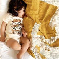 120x100 cm Baby Manta Frande Swaddle Mantas bebé Newborn Pompom Snowdler Infantil Bebé / Chica Manta Muslin Swaddle Bath 201209