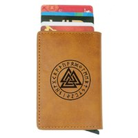 Triangle Valknut nordischen Wikinger Design RFID Kreditkartenhalter Anti-Diebstahl Automatische Wallet Card Case Men Mini Leder Male Purse