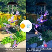 Heißer Verkauf 2V Solar Intelligent Lichtsteuerung Design und Farbschale Schmetterling Wind Glockenkorridor Dekoration Bunte Licht