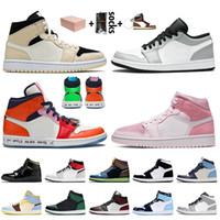 Nike Air Jordan 1 1s Jordan Retro 1 Off White Avec la boîte GS Mid Rose Quartz Jumpman 1 1s Chaussures de basketball Peur fumée grise pâle ombre Femmes Hommes Chaussures