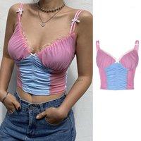 여성 민소매 탑 섹시한 V-Neck Backless Camisole 여름 러프 레이스 메쉬 컬러 블록 패치 워크 슬링 조끼 Streetwear1