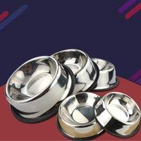 Ciotola per cani in acciaio Animali domestici Acciaio Standard Pet Dog Bowls Cucciolo di gatti Cibi o bevande Acqua Brotola Piatto WQ30