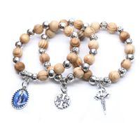 2021 Maagd Jezus Christus Cross Armband Houten Kralen Strand Armband Voor Mannen Vrouwen Religieuze Sieraden