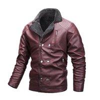 Men's Fur & Faux Winter Leather Jackets Fashion Coats Men Windbreaker Fleece PU Top Male Jacket Brand 2021 Plus Size 5xl