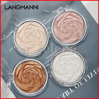 Resaltadores resplandor en polvo 4 colores rosa bronce alto polvo con alto polvo cara maquillaje iluminación resaltado polvo prensado