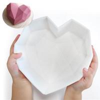 뜨거운 2021 초콜릿 다이아몬드 케이크에 대 한 유익한 심장 실리콘 금형 초콜릿 무스 케이크 베이킹을위한 파손 가능한 심장 금형