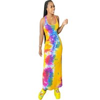 Women Tie Dye Vest Dress U Neck Sleeveless Summer Long Dress...
