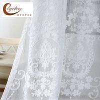 [ByETEE] Bordado Blanco Voile Tulle Sheer Cortinas Cortinas de cifrado Cortinas de Dormitorio Cortina Cortina Sala de estar Rideaux Voillage F1218