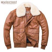MapLesteed Утолщение стеганые 100% из овчины кожаная куртка мужчин ВВС G1 полета куртка человека зимнее пальто воротник съемный M176 201114