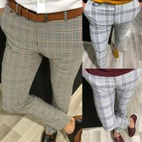 Fashion Mens Slim Fit Plaid Pantaloni Pantaloni Pantaloni Casual Joggers Tartan Jogging Skinny Pencil Bottom Plus Size XXL 3XL11