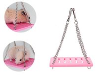 Hamster Hammock Swing Pet Mouse Wooden Mayirtr Small Animal Cage Hanging Seesaw Funny Toys 3 Colors