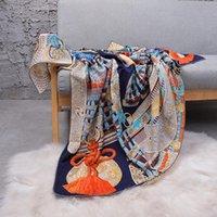 Sciarpe di lusso seta seta sciarpa per le donne stampa di moda cashmere scialli hijab sciarpe 140 * 140 cm quadrato collo da collo da collo della signore 2021