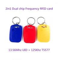 Carte de contrôle d'accès 50pcs IC ID ID UID 13.56MHZ RFID 125KHZ T5577 EM4305 Fréquence double puce Écoute-clé compressable Clé