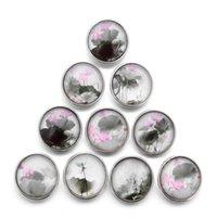 10pcs lot 18mm Elegant Lotus Buttons Glass Charm Snap Button Jewelry For 18mm Snaps Bracelet Snap Jewel jllSjk