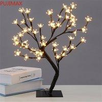 Crystal Cherry Blossom 48led Arbre Lumière Nuit Lumière Lampe Lampe Noir Branches Éclairage De Noël Partie de Noël Mariage LED Fleurs Light 220V