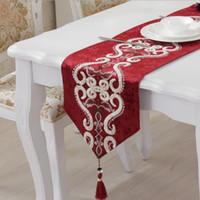 축제 붉은 중국 테이블 러너 식탁보 커피 플래그 유럽 자카드 테이블 러너 블루 레드 브라운 32 * 160cm / 12.6 * 63inch