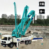 سبيكة دييكاست مضخة الخرسانة شاحنة 1:55 80 سنتيمتر للطي الأنابيب 4 تلسكوب حامل البناء شاحنة نموذج جمع هدية للأطفال لعبة LJ200930