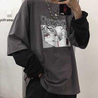 Nicemix Algodão Naruto Tshirt Streetwear Impressão de Amina T-shirt Homens Mulheres Autumn Manga Longa Solta Camiseta Dos Desenhos Animados Japão T Camisas 201028