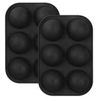 6 Delikler Silikon Pişirme Kalıp Pişirme için 3D Bakeware Çikolata Yarım Topu Küre Kalıp Kek Kek Kek DIY Muffin Mutfak Aracı OWF3472