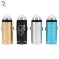 100 adet / grup Yeni Araç Şarj Bullet Evrensel 3.1A Alüminyum Alaşım Metal Çift USB Mini Çok Fonksiyonlu Araba Telefon Şarj