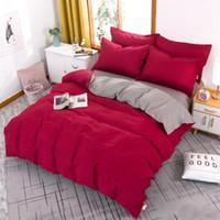 مجموعات الفراش مجموعة النمط الأمريكي الأخضر الداكن + رمادي الملك الملكة كامل حجم سرير واحد الكتان غطاء لحاف + ورقة السرير + المخدة